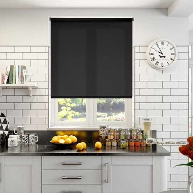 Aruba Black Plain Roller Blind