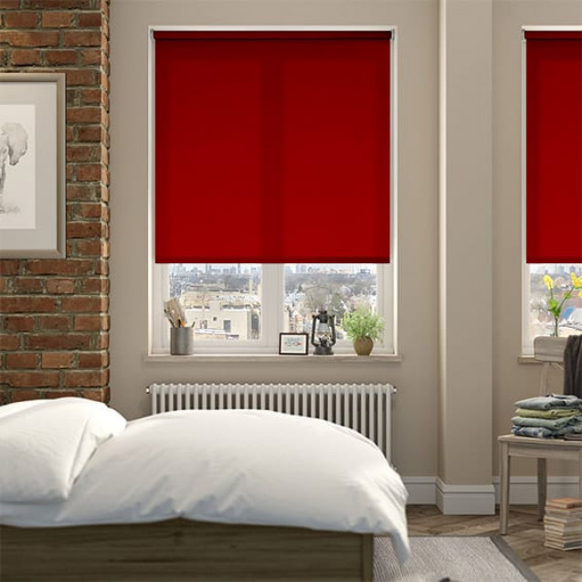 Aruba Tango Red Plain Roller Blind