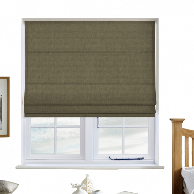 Cotton Candy Leaf Green Roman Blinds
